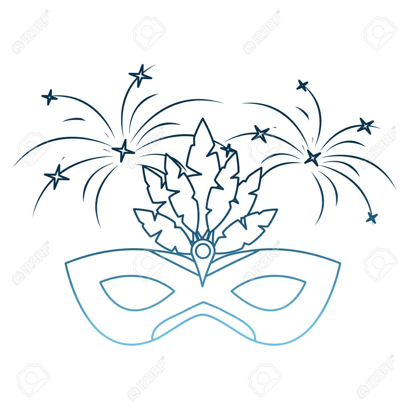 carnival mask with feathers fireworks decoration vector illustration gradient blue color Illustration