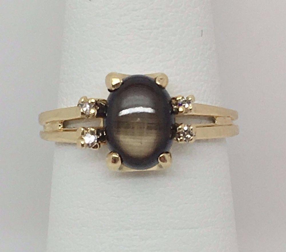 14k Gold Black Star Sapphire And Diamond Ladies Ring Sz 5 3 2 Grams Women Rings Star Sapphire Ring Star Sapphire