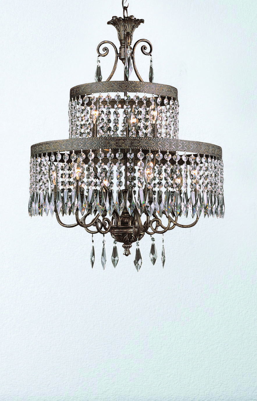 Reagan 9 light 2 tier chandelier featuring dark bronze with gold reagan 9 light 2 tier chandelier featuring dark bronze with gold finish and crystal arubaitofo Image collections