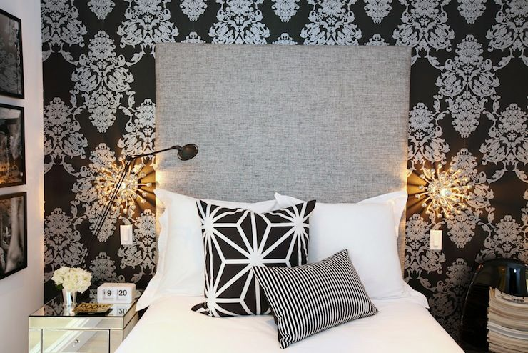 Black White Damask Wallpaper Accent Wall Damask Wallpaper Bedroom Crosses Decor Grey Headboard