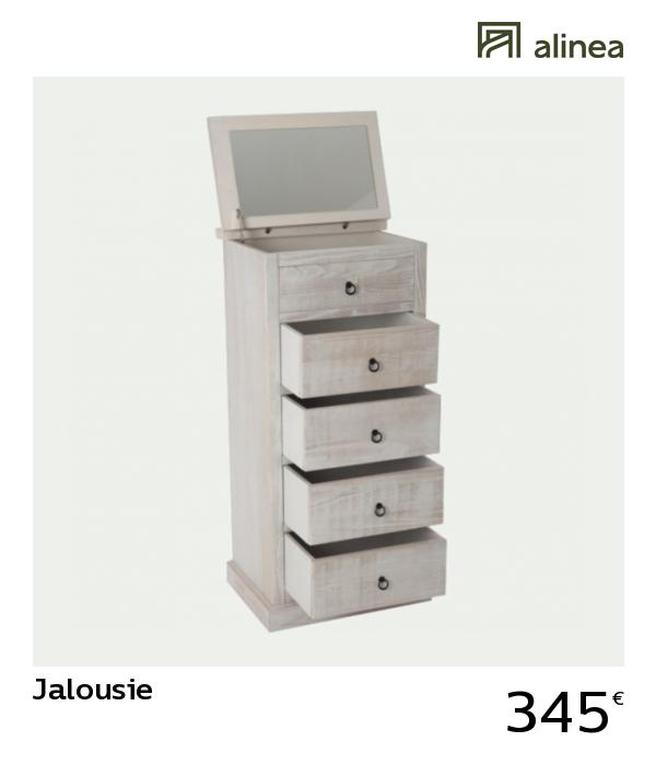 alinea : jalousie chiffonnier / coiffeuse blanche en pin ...