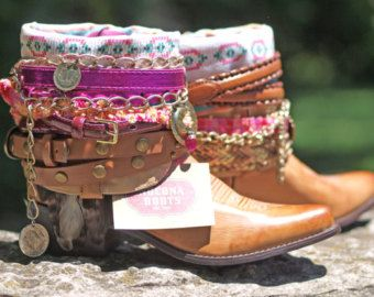 Upcycled CUSTOM REWORKED vintage colorful boho Cowboy BOOTS