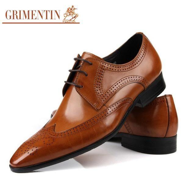 Grimentin Brand Oxford Leather Men Shoes Wedding Tan Lacup Up Uk Fashion Black Business Male Dress Flats Footwear