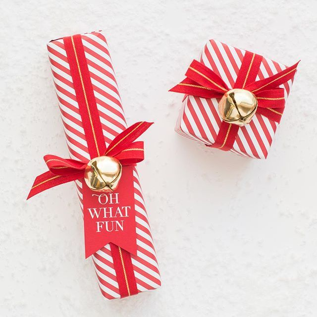 Candycane Stripped Paper And Gold Jingle Bells! All