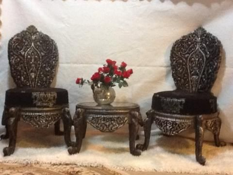 Carved Wood Chairs & Coffee Table Set from India