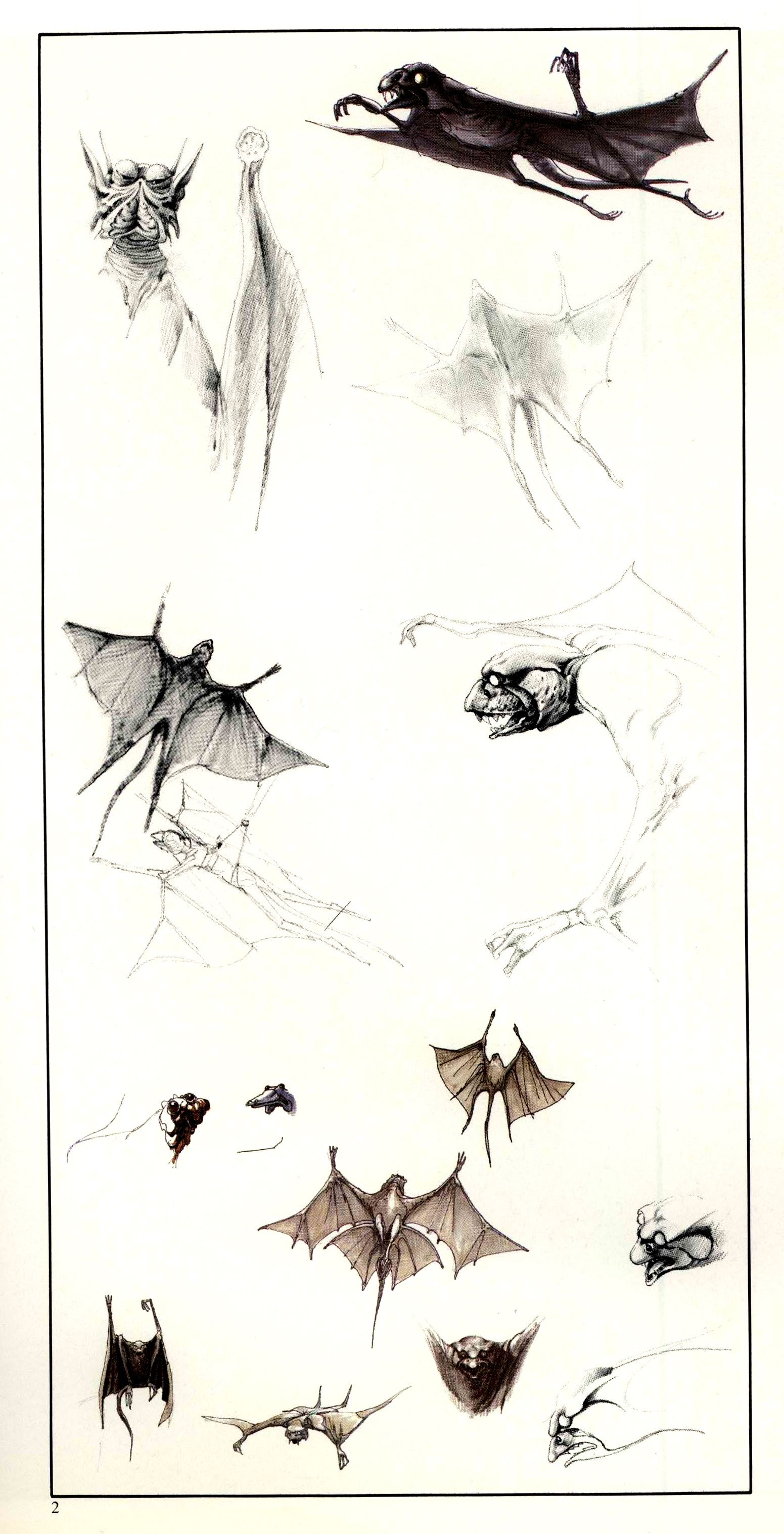 TESB: Ralph McQuarrie sketches of the bat-like creatures call MYNOCKS. Apparently, Mynocks were able to live in the vacuum of space --- but I'm not really sure how wings are supposed to work if there's no air.