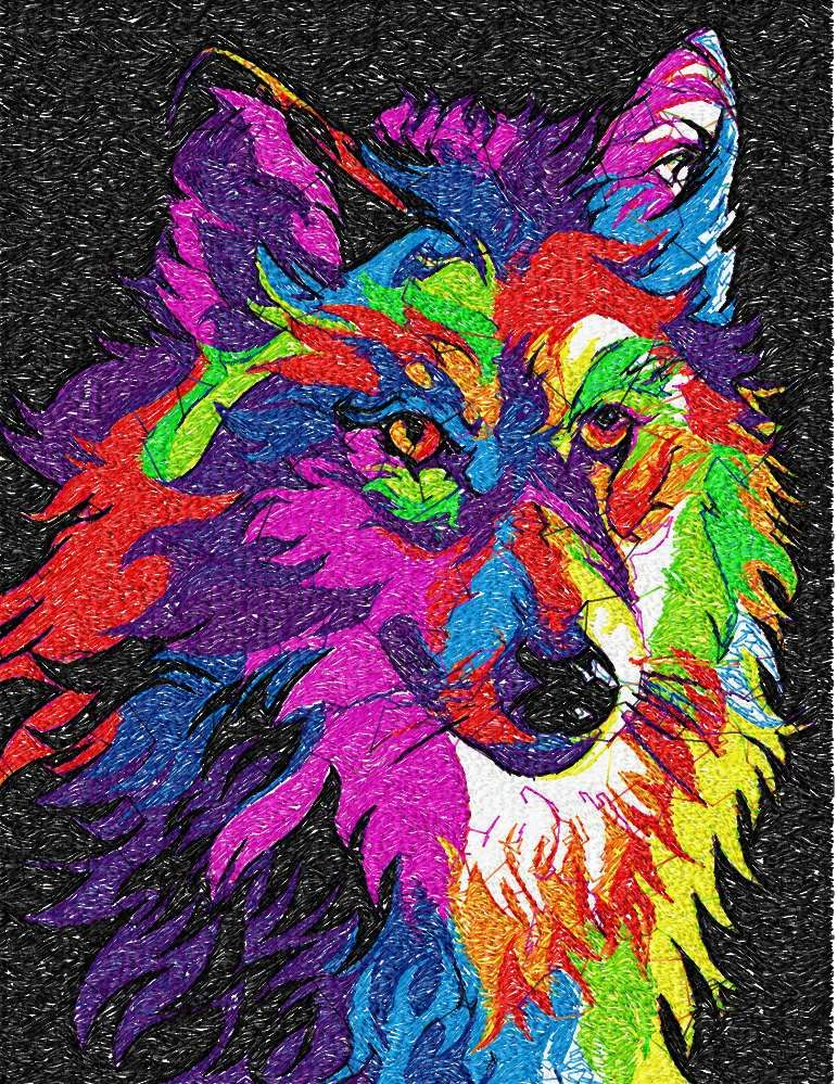 Wolf In Bright Colors Photo Stitch Free Embroidery Design Photo
