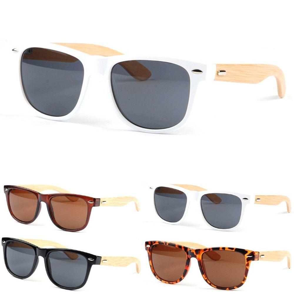 6e4ea30ca8 Bamboo Frame Sunglasses Glasses Leopard Gray Black Vintage Frames Real Wood