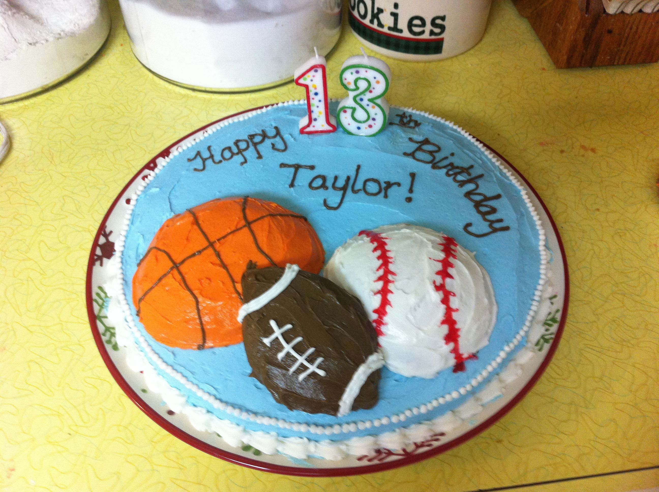 Birthday Cake for teenage boy 12in round pan one ball cake pan