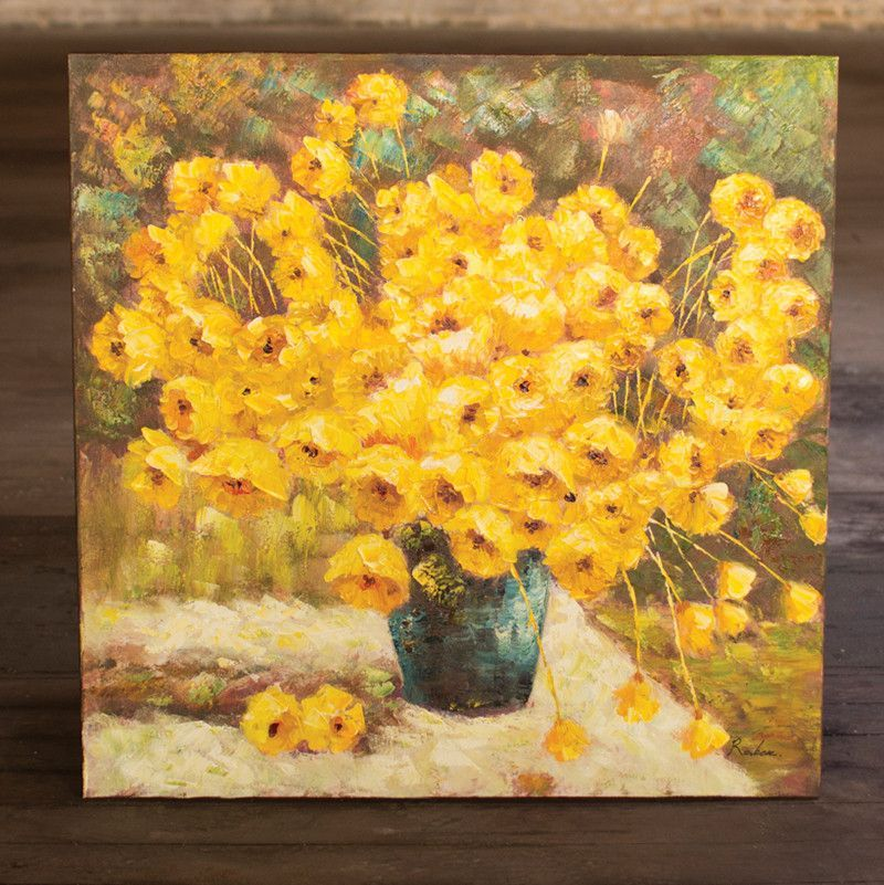 Oil Painting Yellow Flowers In A Vase Yellow Flowers Oil And