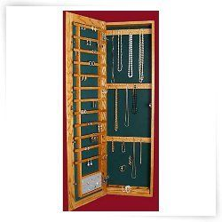 Recessed Wall Mounted Wooden Jewelry Armoire 14 25w X 48h In