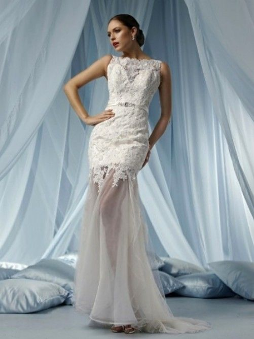 Trumpet/Mermaid Bateau Court Trains Sleeveless Satin and Lace Wedding Dresses For Brides