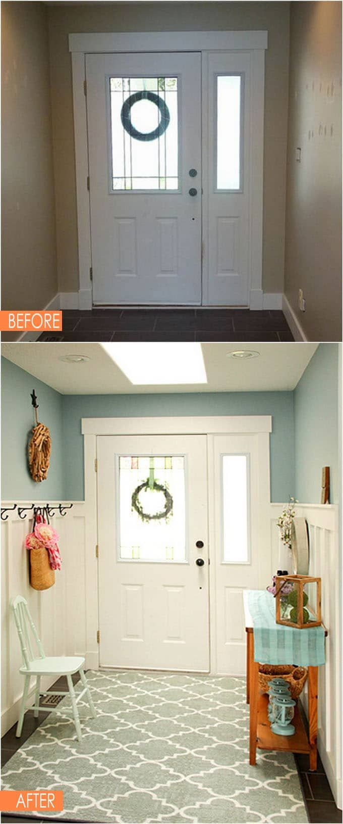 Hallway coat closet   Amazing Before After Entryway Makeovers  Foyers Mudroom and House