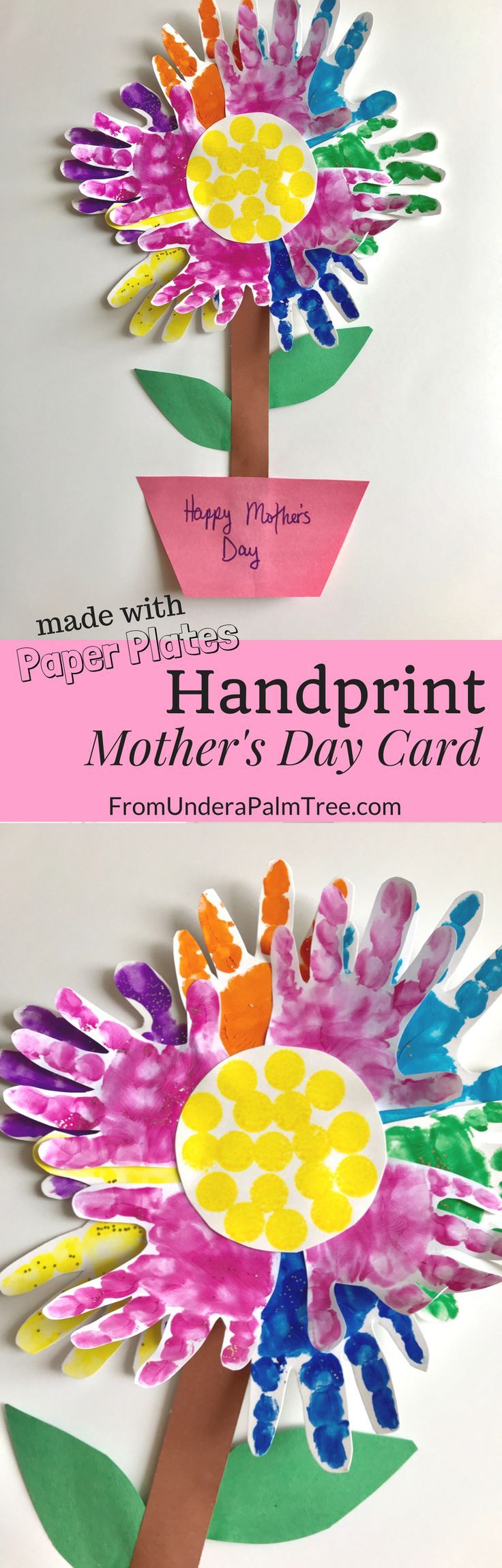 Paper plate handprint motherus day card mom cards mom gifts and