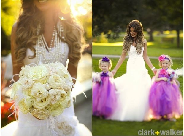 I Die! in love with the bouquet, necklace and the flower girls!