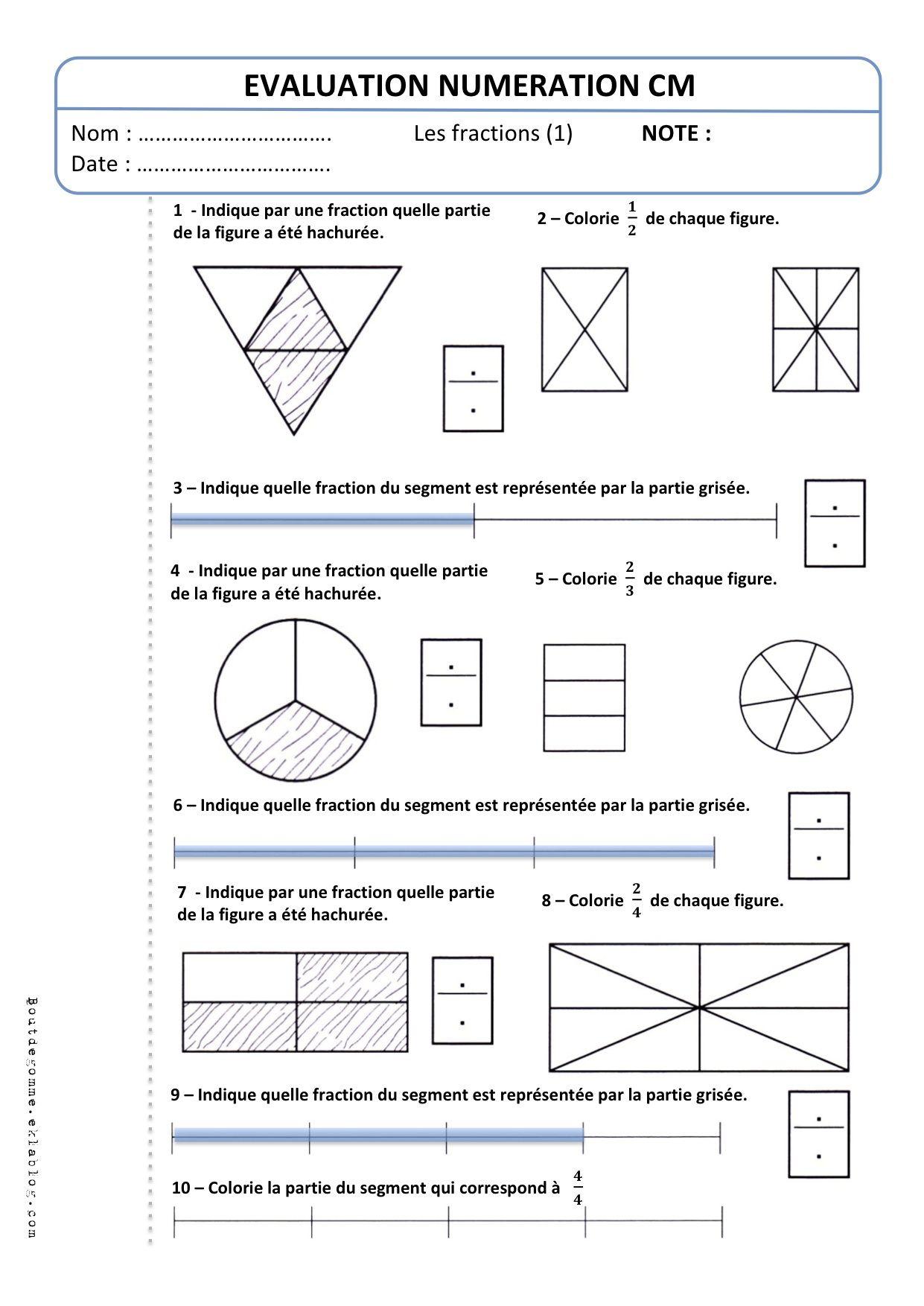 """Evaluation CM2 Numération """"Les fractions (1)"""" - Bout de ..."""