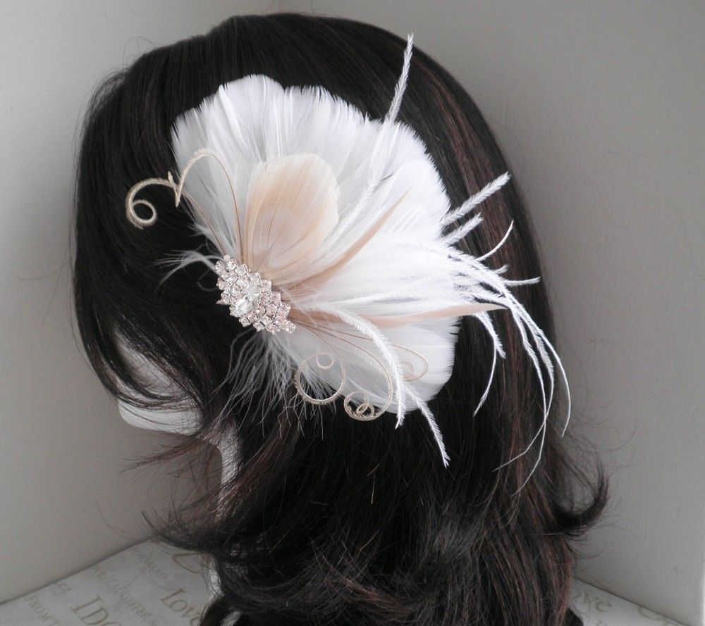 white, weddings, hair, accessories, bridal, fascinator, feather