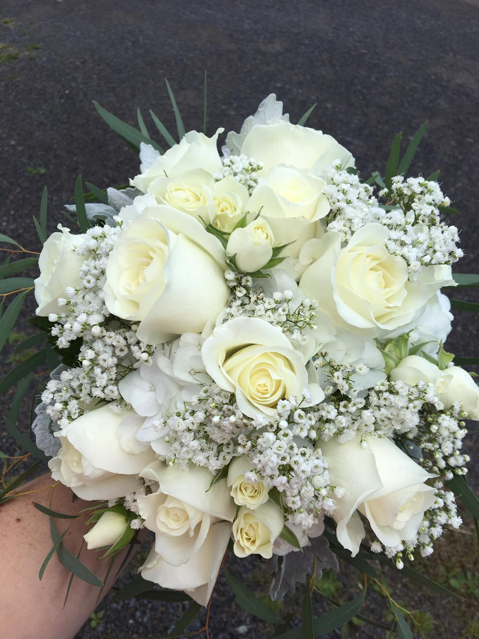 Bridal Bouquet Of White Hydrangea White Roses White Spray Roses And