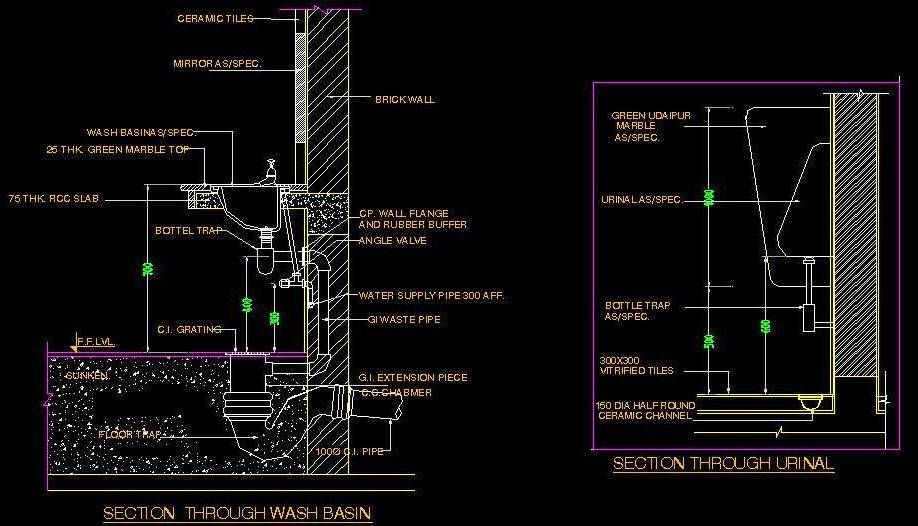Typical Fixing Detail And Section Of Washbasin Including