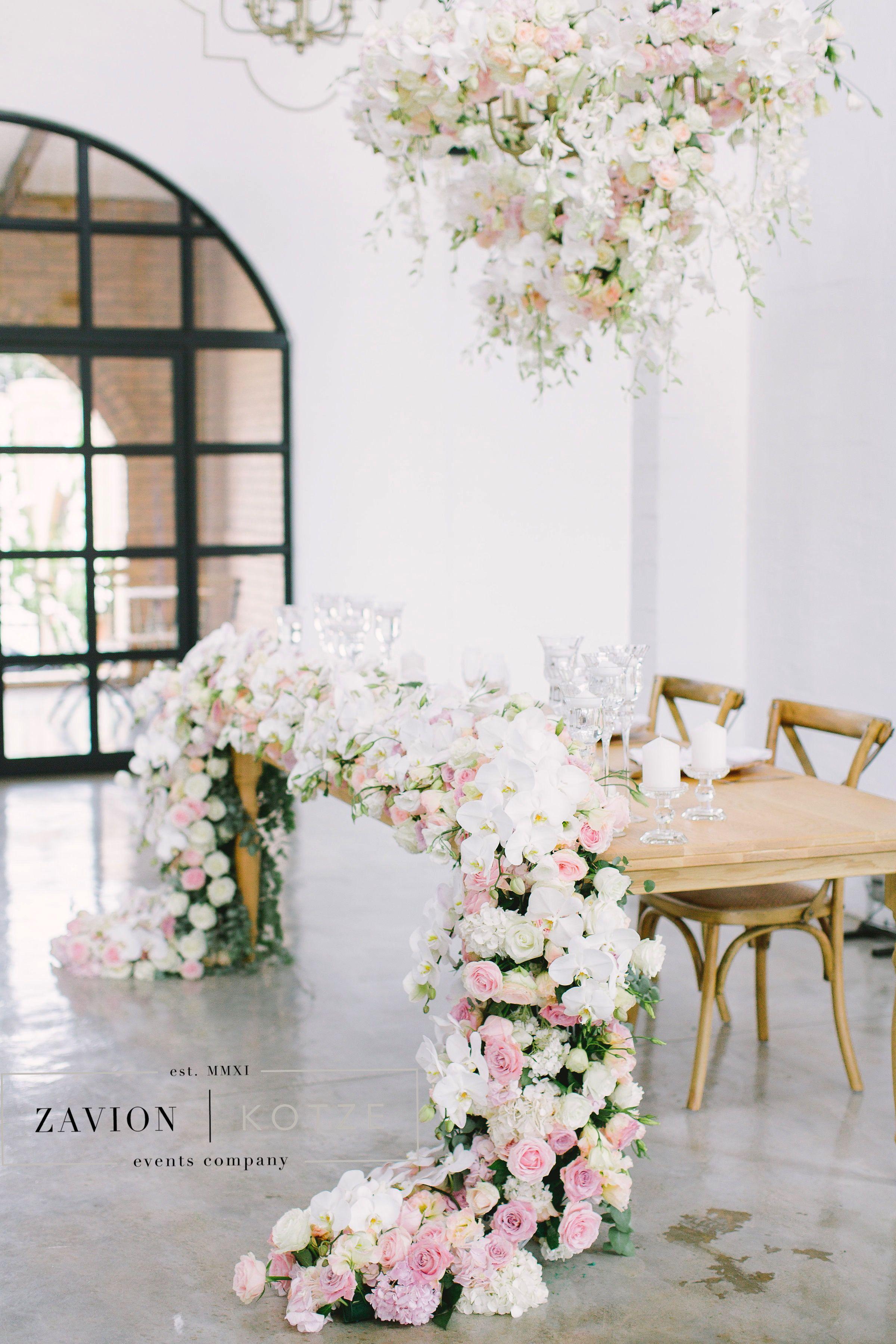 Bridal table, floral runner, flower runner, hanging