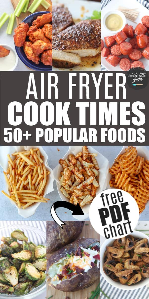 air fryer cooking times chart pdf image for Pinterest