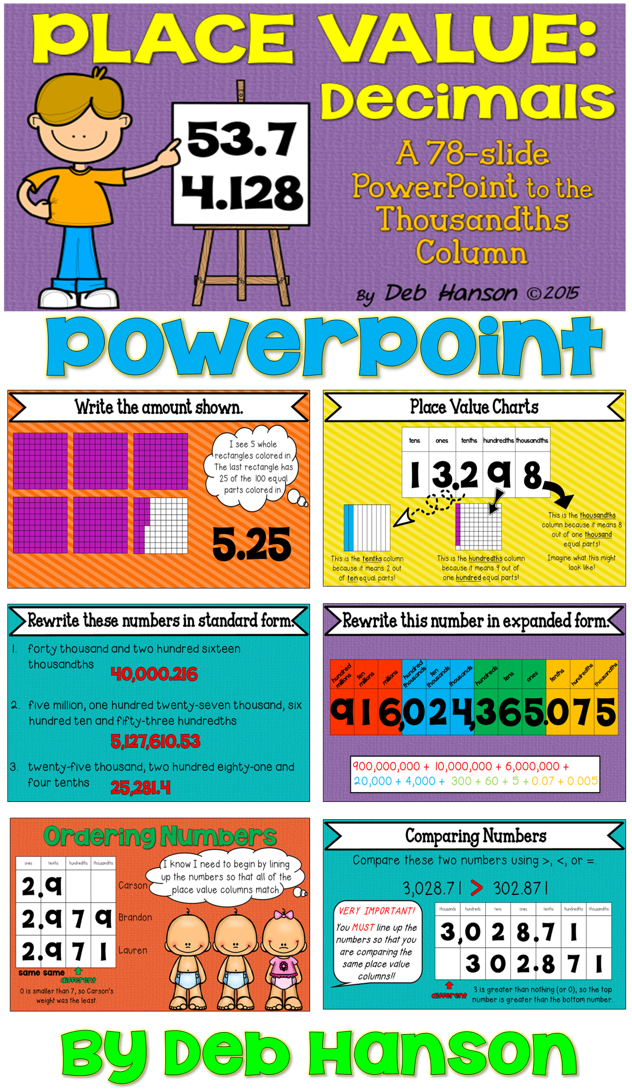 Decimals and place value powerpoint ordering decimals comparing decimal powerpoint with 78 slides includes models place value charts expanded form falaconquin
