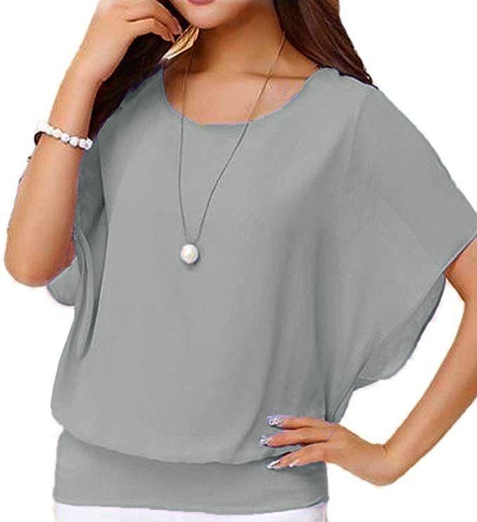 82dd9e6c8f4 Neineiwu Women s Summer Shirt Short Sleeve Batwing Sleeve Round Neck Loose Chiffon  Blouse Tops (Grey M) at Amazon Women s Clothing store