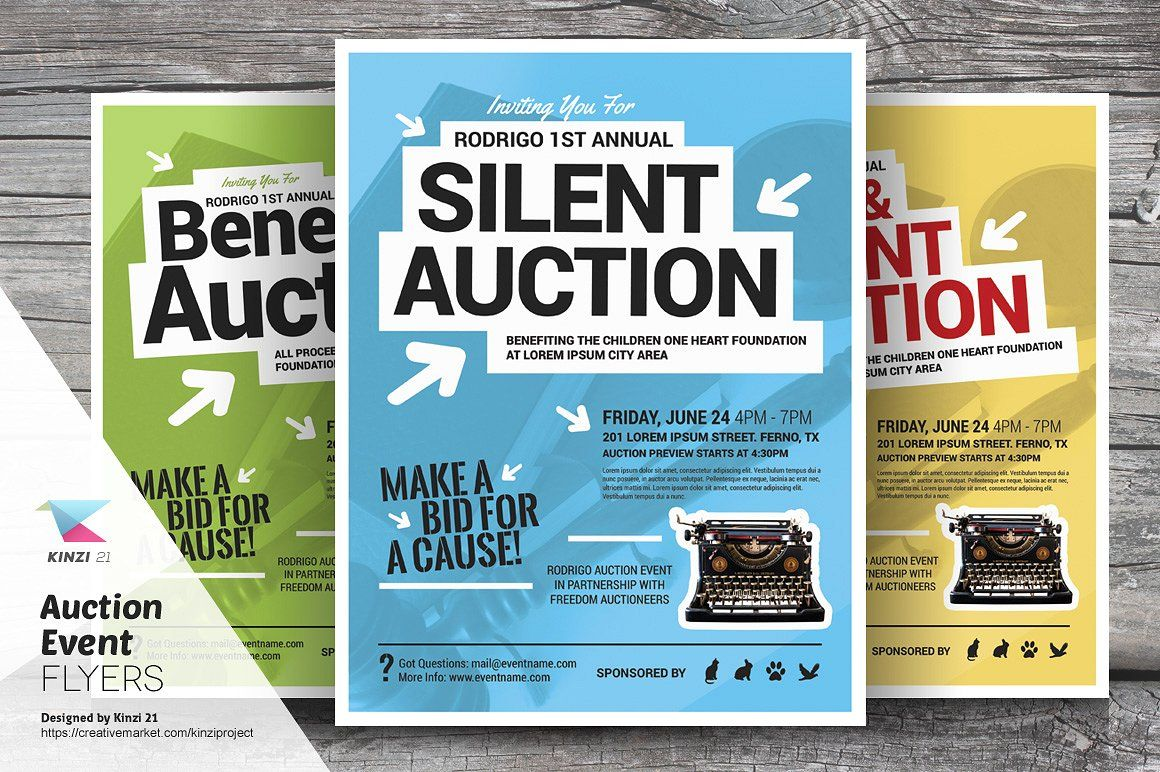 auction event flyer templates by kinzi21 on creativemarket