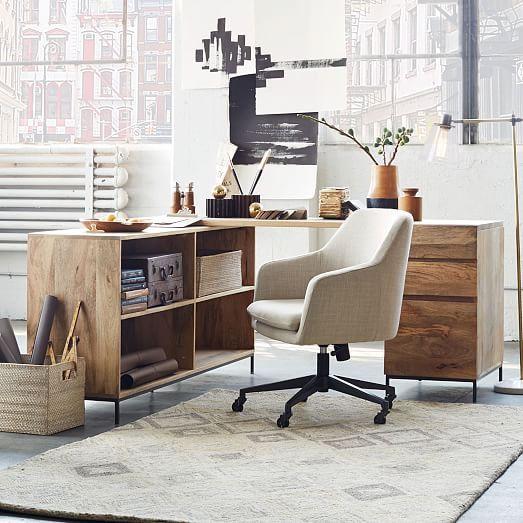 Industrial Modular Desk Set Ndash Box File Bookcase Westelm Cheap Office Furniture Modular Desk Upholstered Office Chair