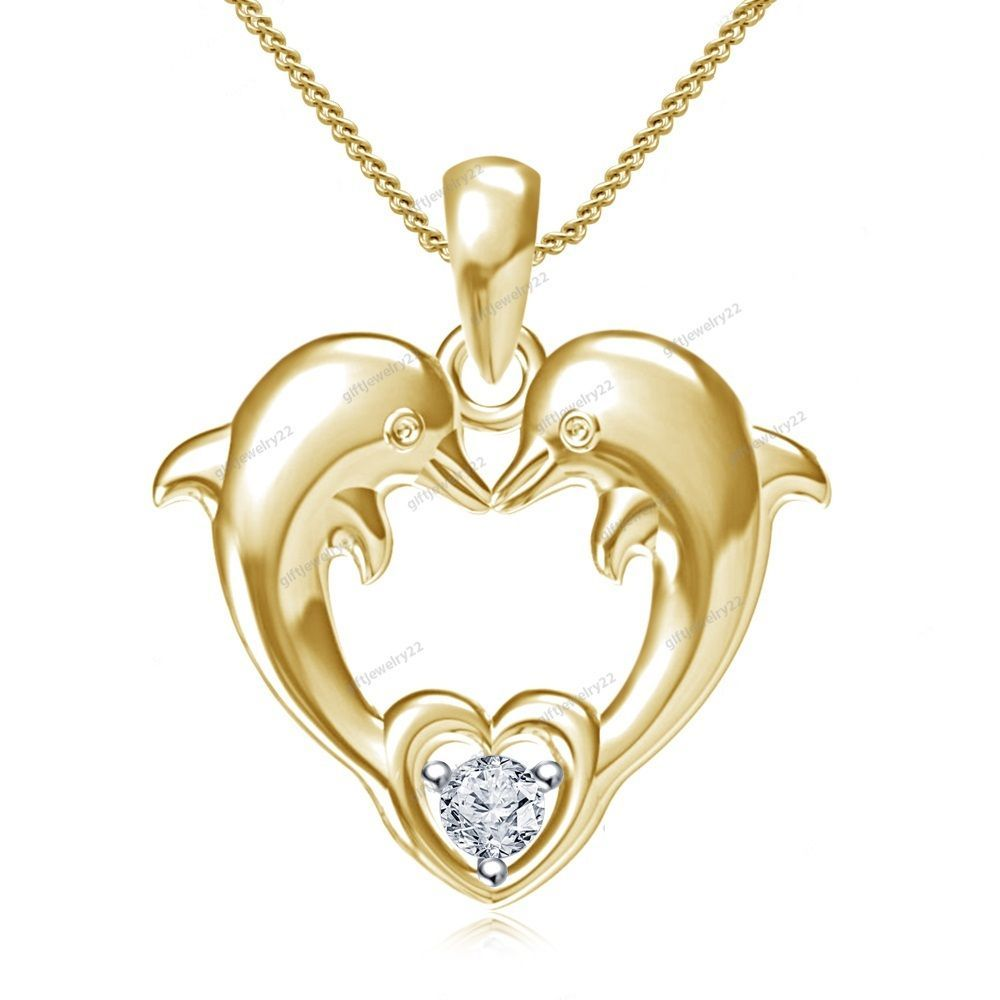 Valentines day special dvvs1 diamond heart shape dolphin pendant special valentines day round cut diamond heart shape dolphins pendant 18 aloadofball Gallery