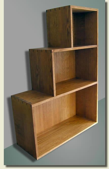 Oak Bookcase By Uk Cabinet Makers Dimension Furniture In A Contemporary Stepped Design Handmade Bespoke English