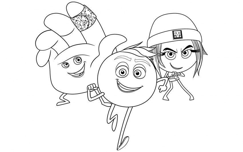 The Emoji Movie Trio Coloring Page Coloring Pages Emoji