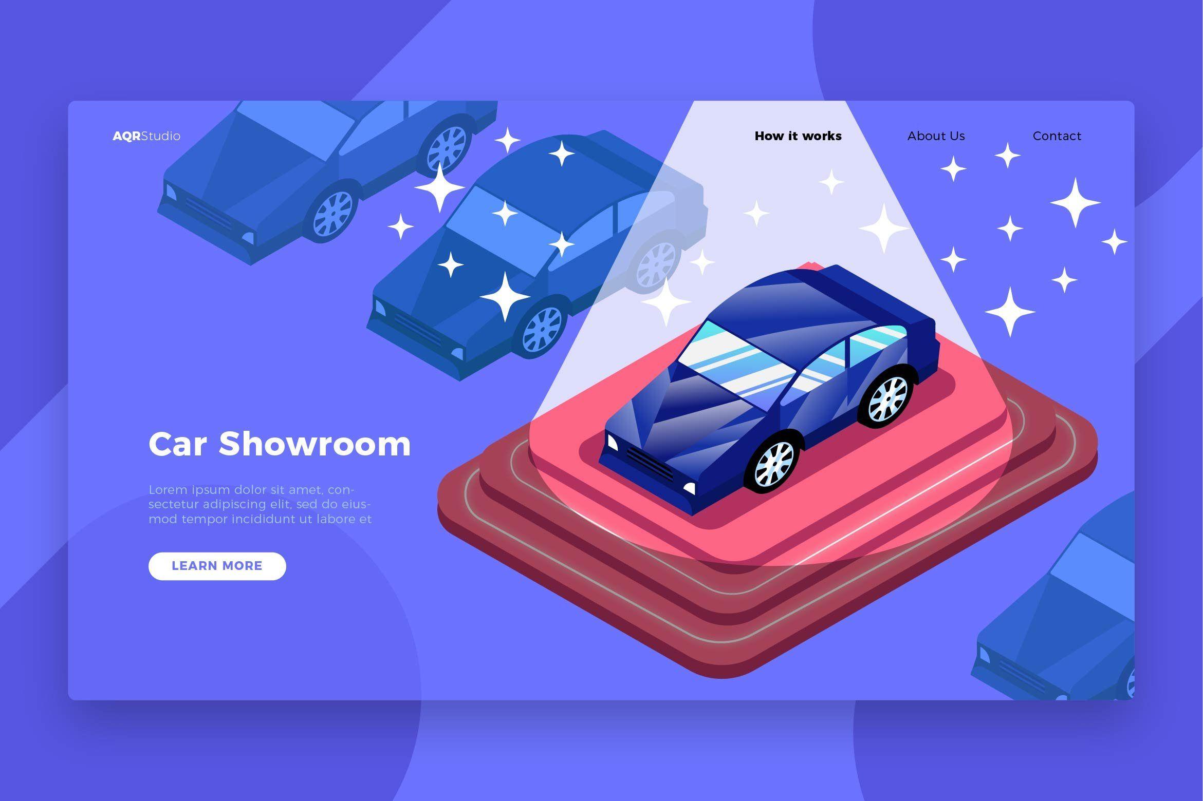 Car showroom banner landing page desain