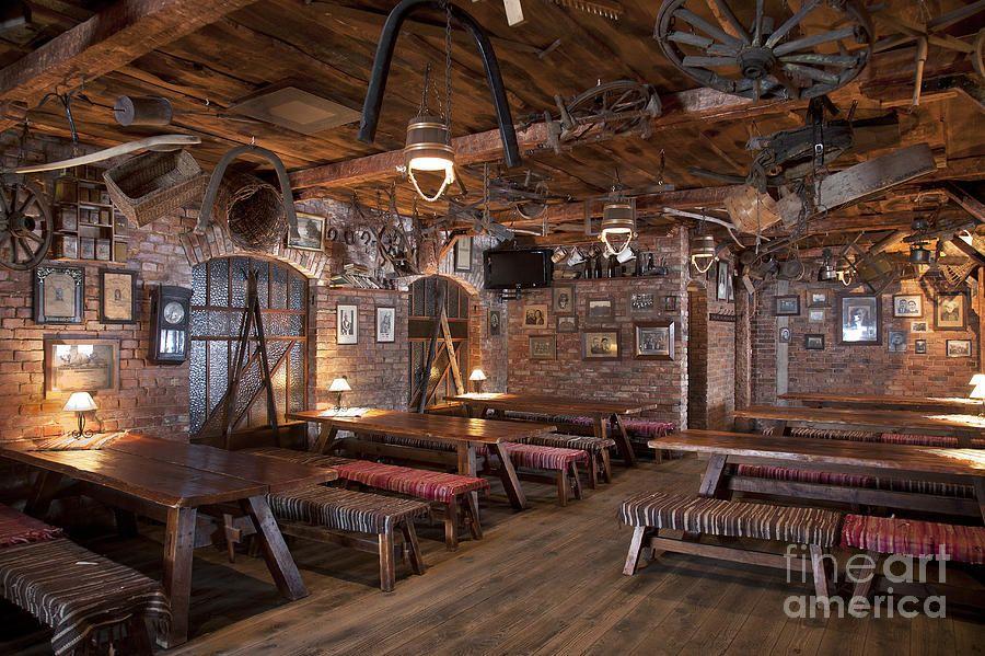 Rustic restaurant seating photograph