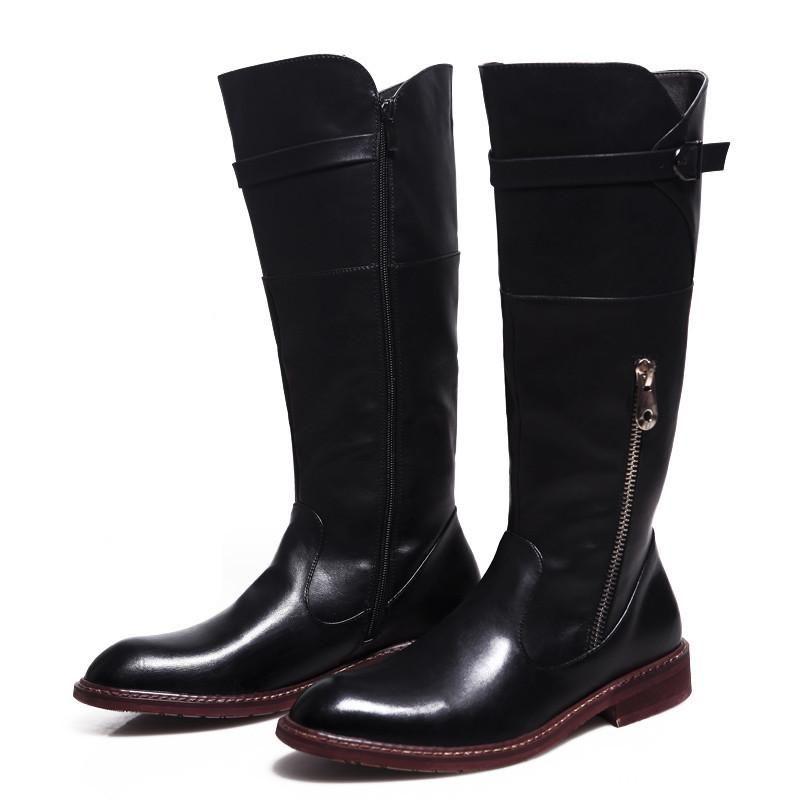 Mens Boots Mid Calf Men Leather Martin Boots Zipper
