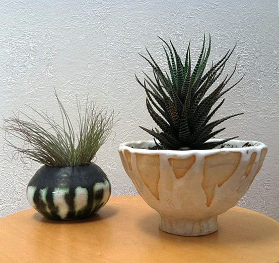 round pot by william edmonds, white planter by mike mcdowell