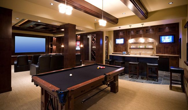 Man Cave Game Room W Bar Home Theater Game Room Layout Bars For Home Home