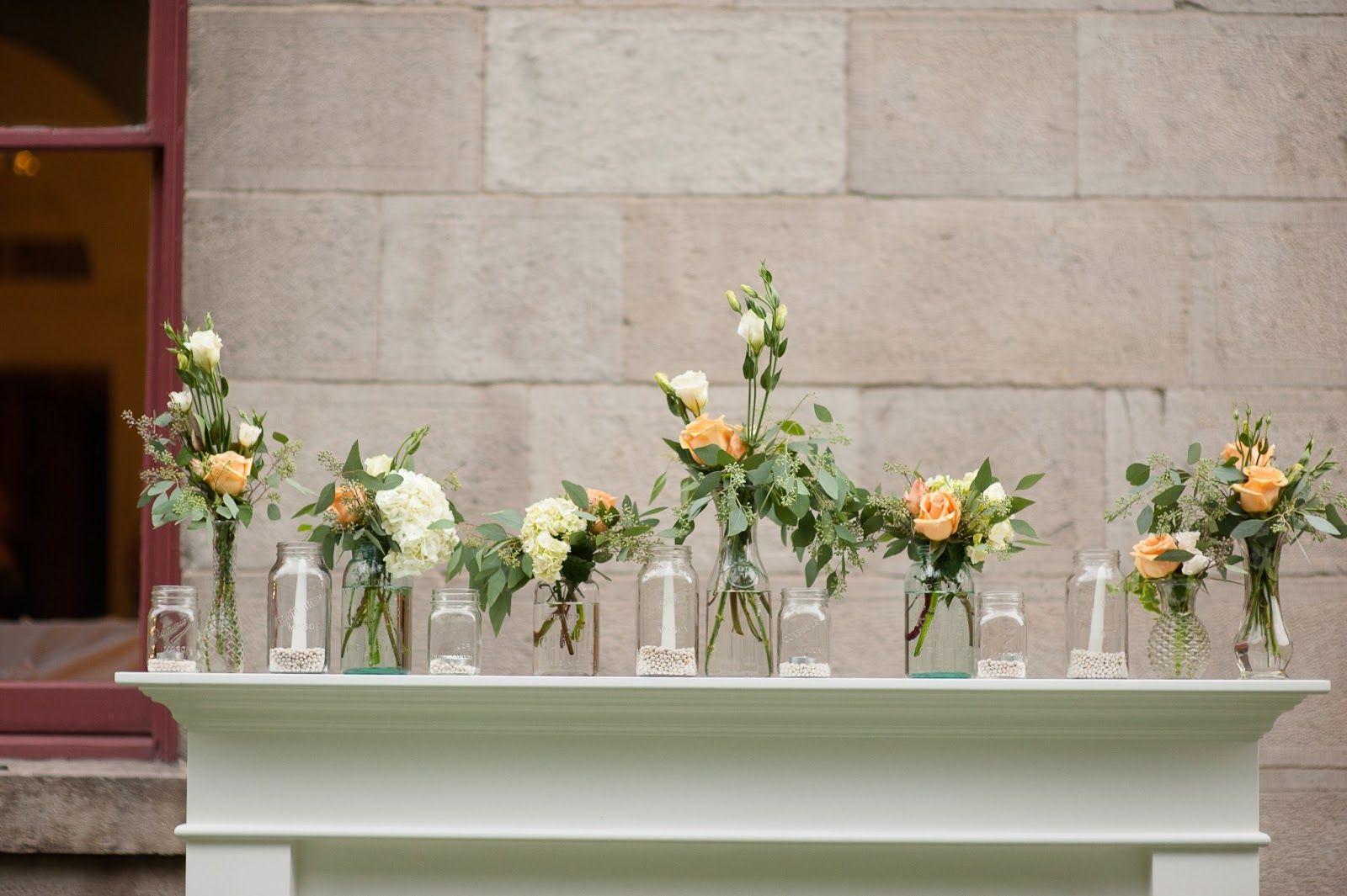 vintage fireplace mantle and crown mason jar arrangements for the