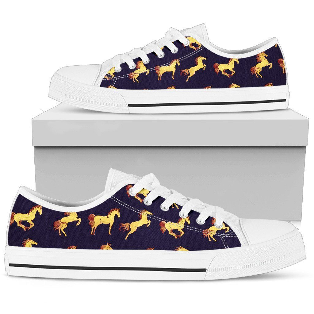 Gold Horse Pattern Men Low Top Shoes #horsepattern