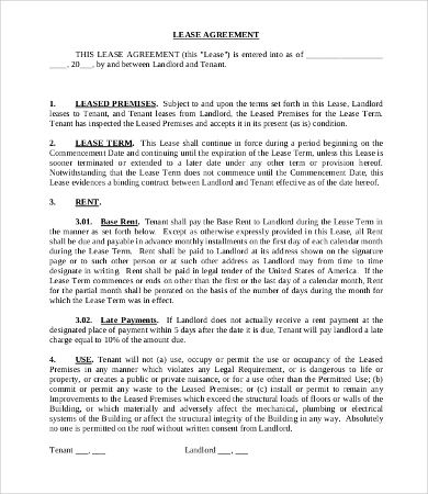 Commercial Tenant Lease Agreement Template , 11+ Simple Commercial - lease agreement printable