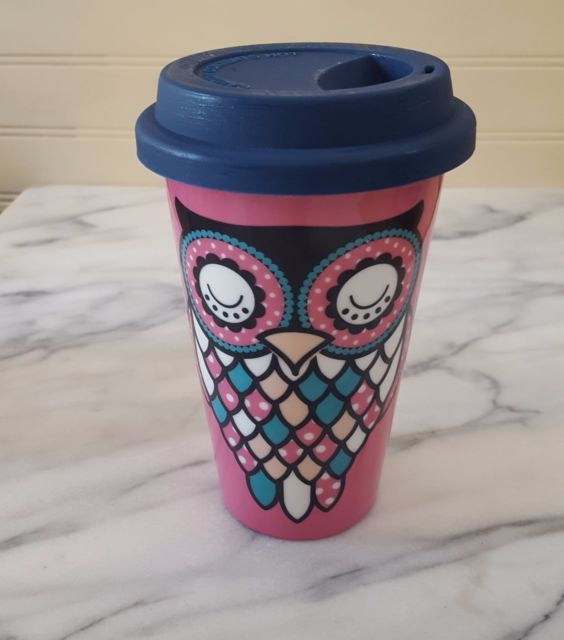 PINK NAVY OWL Insulated Travel Mug Ceramic Coffee Cup Silicone Lid CUTE
