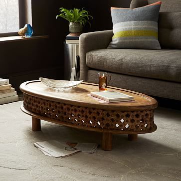 Potential Guest Wing Coffee Table Carved Wood Ellipse Coffee Table