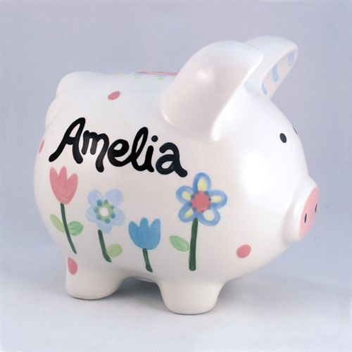 Personalized Flowers Piggy Bank