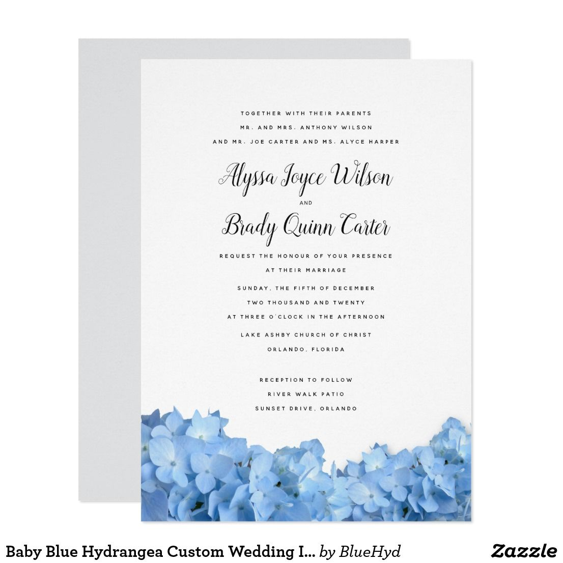 Baby Blue Hydrangea Custom Wedding Invitations | Hydrangea ...