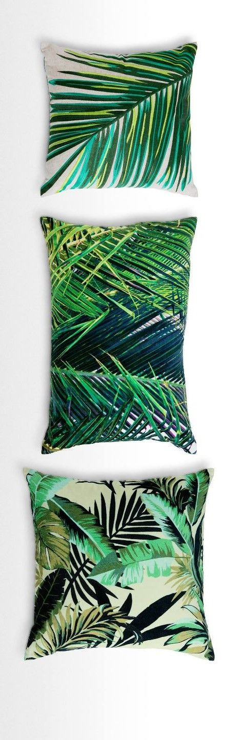 Update your scatter cushions with a luscious, leafy vibe. Jangala has the tropical flair of a palm house or conservatory, in bright, rich colours and textures. Available in velvet and embroidery. From £28 MADE.COM