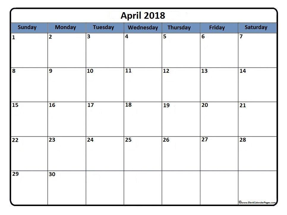 April 2018 Printable Calendar April 2018 Calendar Calendar