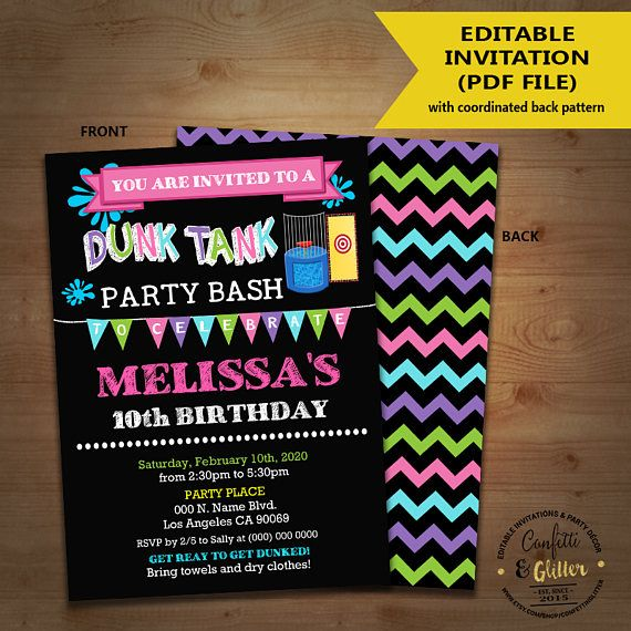 dunk tank birthday party bash invitation pink green teal dunk tank