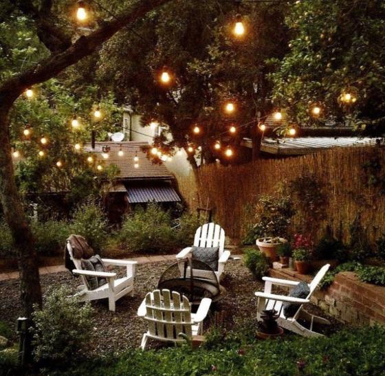 Beautiful Backyard Fairy Lights Fire Pit Summer Outside Nature Backyard Makeover Backyard Outdoor Rooms