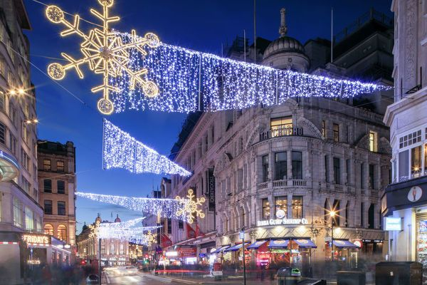 Poster Print-Night view of Christmas lights at Piccadilly Circus in front of Regent Street, London-16