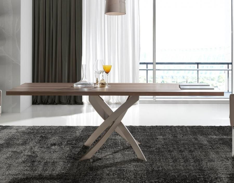 Modern Dining Table With A Metal Base Available In 12 High Gloss Finish  Options, Table Top Rectangle Or Round, 9 Sizes
